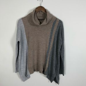 Ellen Tracy Merino Wool Color Block Sweater Large